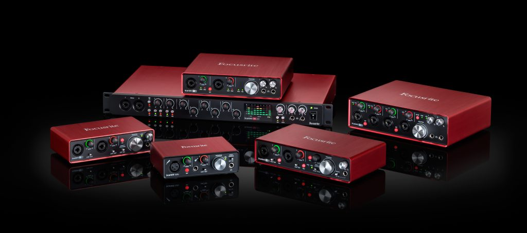 Selection of Focusrite audio interfaces